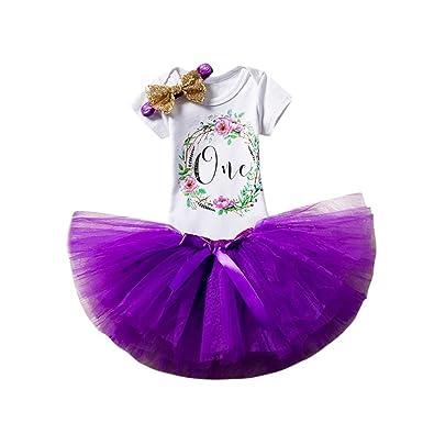 Counjunto de Ropa bebé Niña, Bebés Recién Nacidos Bebé Niña Cumpleaños Floral Letra Impresión Faldas Tutú + Mono + Diadema Conjunto de Trajes 3-12 Mes