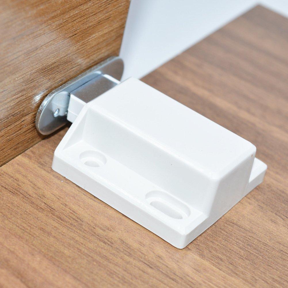 Placard Loquet de porte magné tique, Appuyez pour ouvrir loquets de porte tiroir Cabinet Catch free size blanc Behavetw