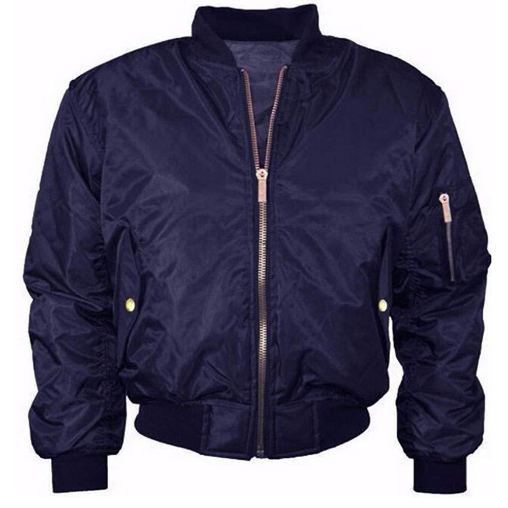 Qiusa Womens Winter Stand Collar Solid Full Zipper Outwear Abrigo Chaqueta Bomber (Color : Azul, tamaño : M): Amazon.es: Hogar
