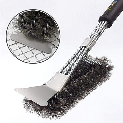 Aolvo - Cepillo para barbacoa y rasqueta (45,72 cm, acero inoxidable,
