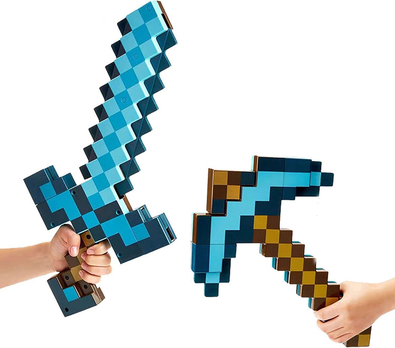 JYJD Minecraft Modelo de Juguete para Niños de Tiro de Espada 2 en 1, Juguete para Niños de rol, Material Plástico, Adecuado para Regalos para Niños de 4 a 6 Años