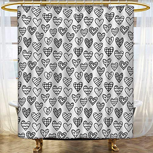Black White Toile Curtains - Valentine`s Day,Shower Curtains with Shower Hooks,Black and White Pattern with Outline Doodle Hearts Romantic Love Theme,Bathroom Set with Hooks,Black White,Size:W54 x L72 inch
