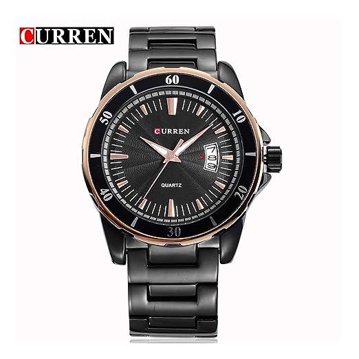 Curren los hombres relojes Top marca de lujo Full acero Auto FECHA cuarzo reloj negro 8018: Amazon.es: Relojes