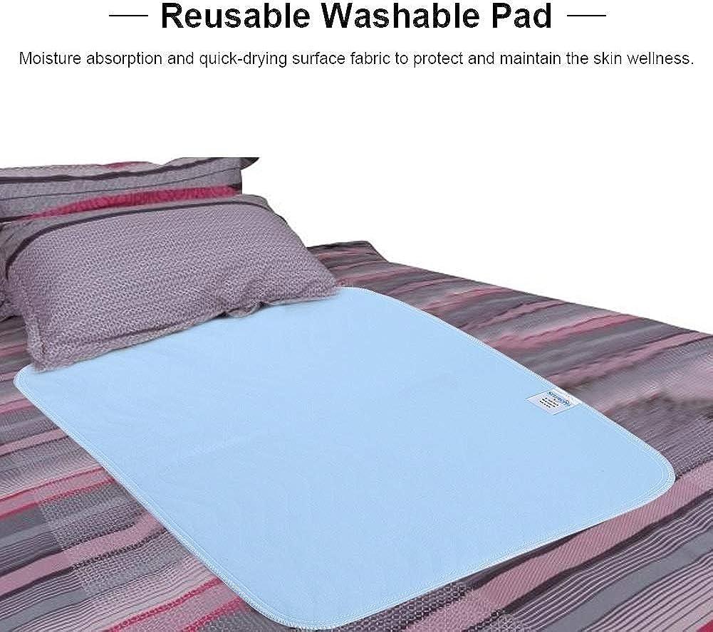 Color : Blue+White, Size : 17.7 * 23.6inch Puseky 6 St/ück waschbar Pad absorbierende rutschfeste schnell trocknende Bett Pad Urin Matratze f/ür Inkontinenz