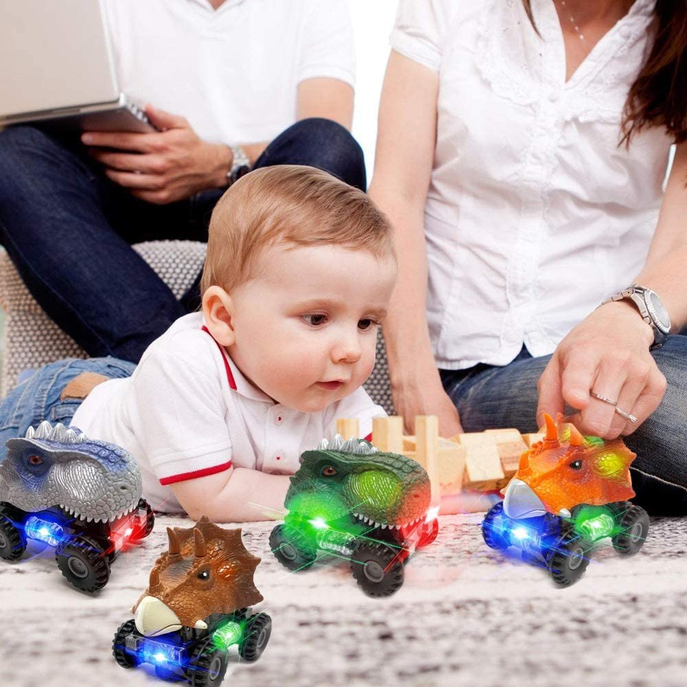 GZMY LED Dinosaur Cars with Sound for Kids