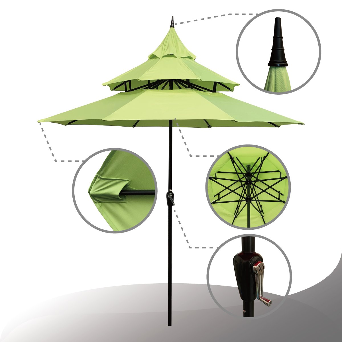 ABBLE Outdoor Patio Umbrella 9 Ft Pagoda with Crank, Weather Resistant, UV Protective Umbrella, Durable, 8 Sturdy Steel Ribs, Market Outdoor Table Umbrella, Lime Green