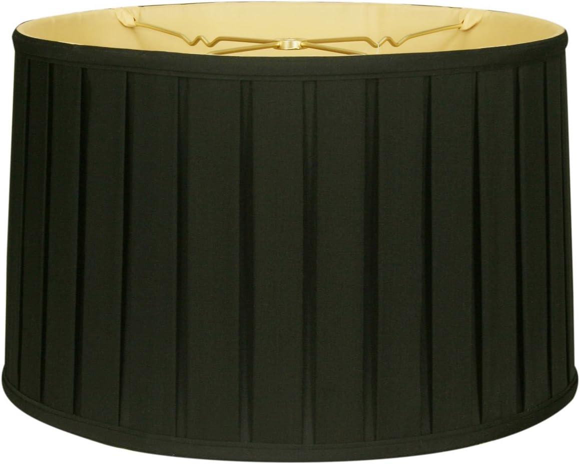 Royal Designs BS-748-18BLKGL Shallow Drum English Bo X Pleat Basic Lamp Shade, 17 x 18 x 11.5 , Black