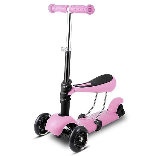 Befied Mini Scooter Patinete de 3 ruedas LED para los niños ...