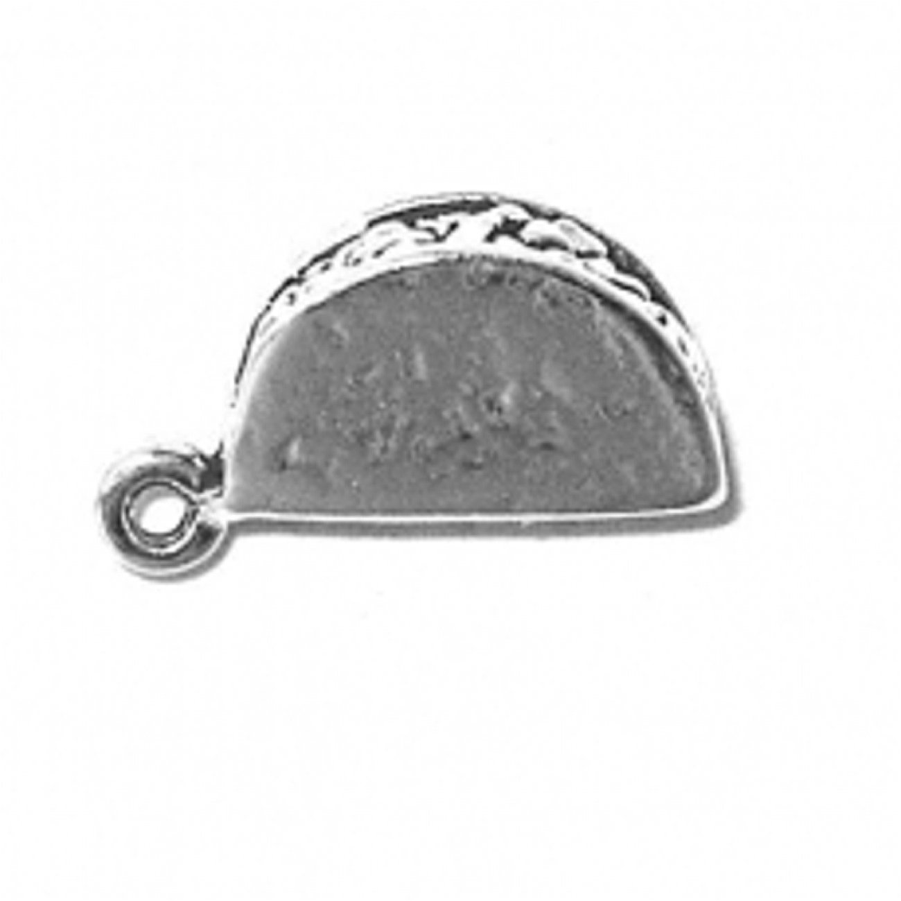 Sterling Silver Womens 1mm Box Chain 3D Taco Pendant Necklace