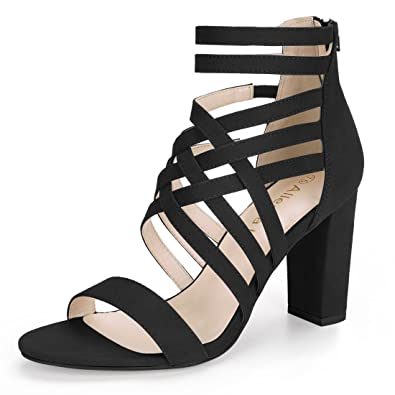 03a42edafbf0 Allegra K Women s Ankle Strap Block Heel Black Sandals - 6 ...