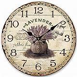 """Eruner - Pittoresco orologio da parete in stile shabby-chic, in legno, effetto anticato screpolato per un tocco rustico, ideale in ufficio, cucina, camera da letto, bagno; 30cm, 35cm, 40cm, Lavender pattern 3, 35,5 cm (14"""")"""
