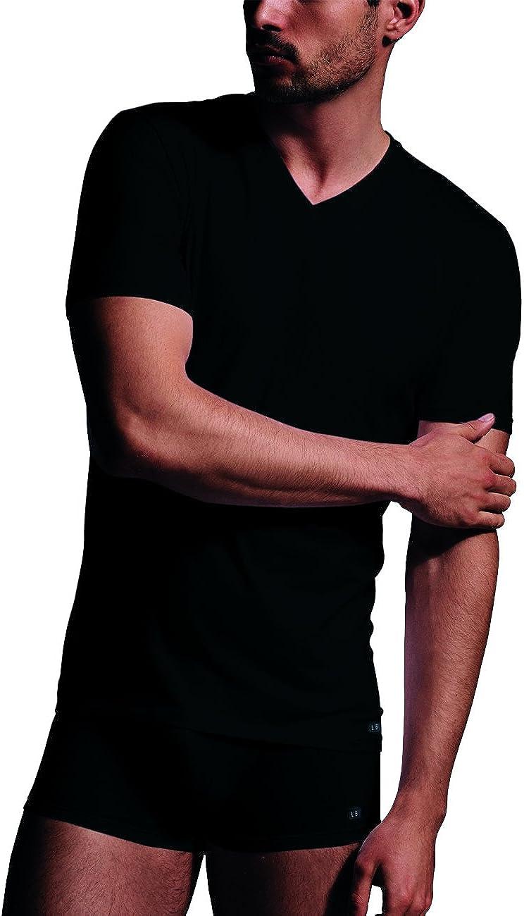 LOVABLE Premium Stretch T-Shirt Maglia con Scollo a V Profondo in Cottone Intimo Uomo