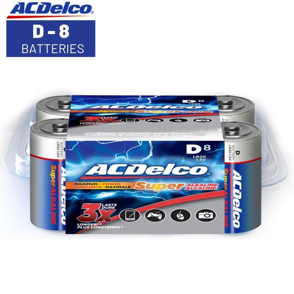 ACDelco D Batteries, Super Alkaline Battery, 8 Count Pack