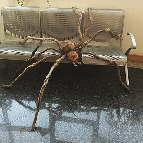 Giant Brown Hairy Spider with LED Eyes for Halloween Decoration -