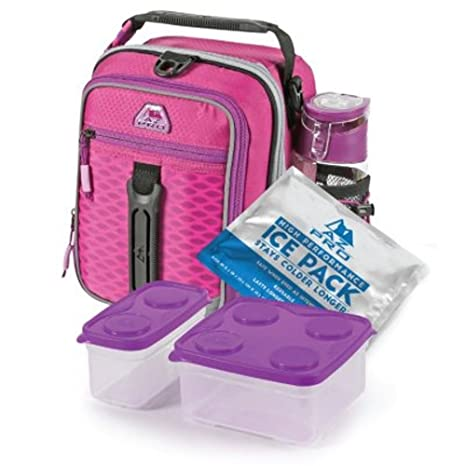 12fe1090c255 Arctic Zone High-Performance Dual-Compartment Lunch Box Set, Pink/Purple