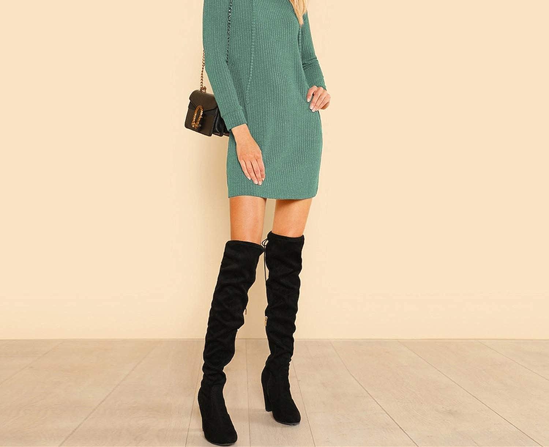 Utensil-Shop Green Solid Rib Knit Hoodie Dress Casual Long Sleeve Stretchy Women Minimalist Straight Short Dress