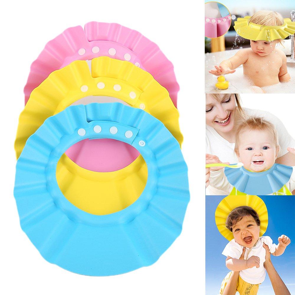 YICANG Champ/ú para beb/é Ajustable Gorro de Ducha Lavado de Silicona Suave El Cabello Protege los Sombreros para beb/és