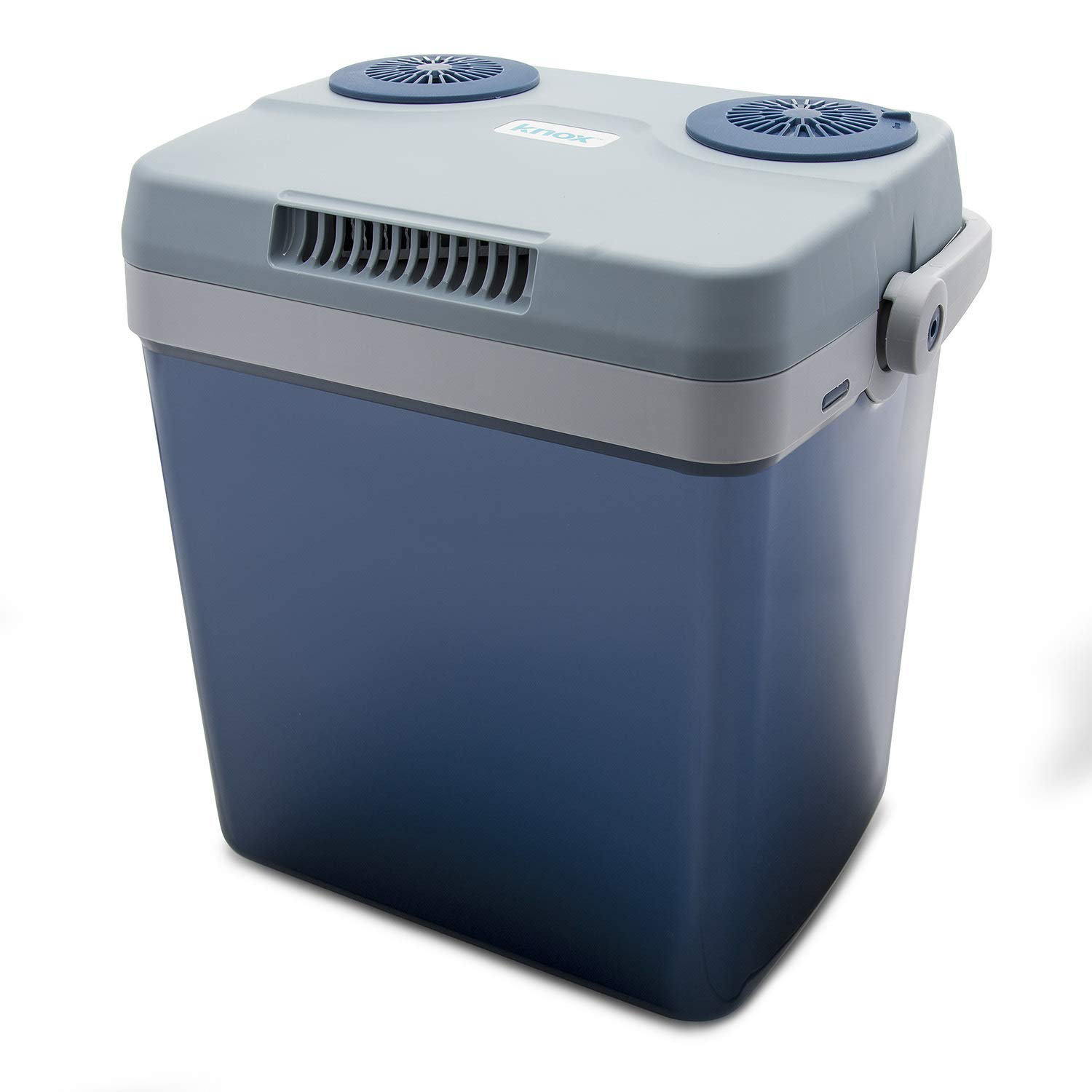 Knox Electric Cooler and Warmer for Car and Home with Automatic Locking Handle - 27 Quart (25 Liter) - Holds 30 Cans - Dual 110V AC House and 12V DC Vehicle Plugs by Knox