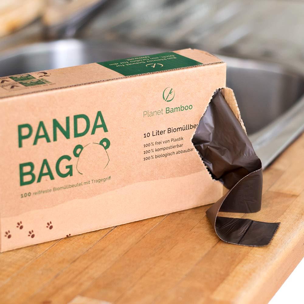 Planet Bamboo: Bolsas compostables de biorresiduos (7 a 10 L con mango | 100 piezas | Marrón) 100% compostables según EN 13432: Amazon.es: Hogar