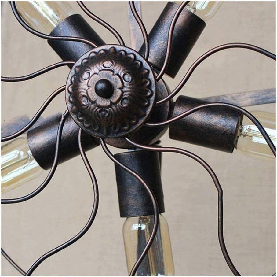 XWZH 5 Lampada da terra Retro ventilatore industriale del nastro metallico della gabbia Soggiorno Camera da letto Comodino sala lettura con ferro tubo di acqua in piedi lampada in bronzo lampada da te