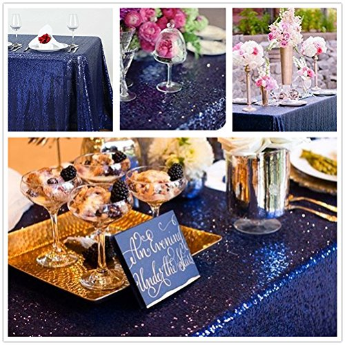 "QueenDream glitter tablecloth 50""x80"" Navy sequin tablecloth cheap tablecloths"