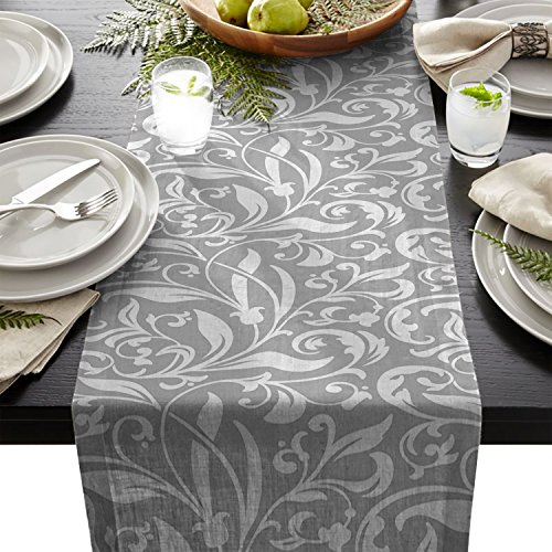 Halloween Table Runner Quilt Patterns (Edwiinsa Vintage Plant and Geometric Table Runner For Dining Table Kitchen Wedding Party Decoration Table Top Home Decor 18 x 72)
