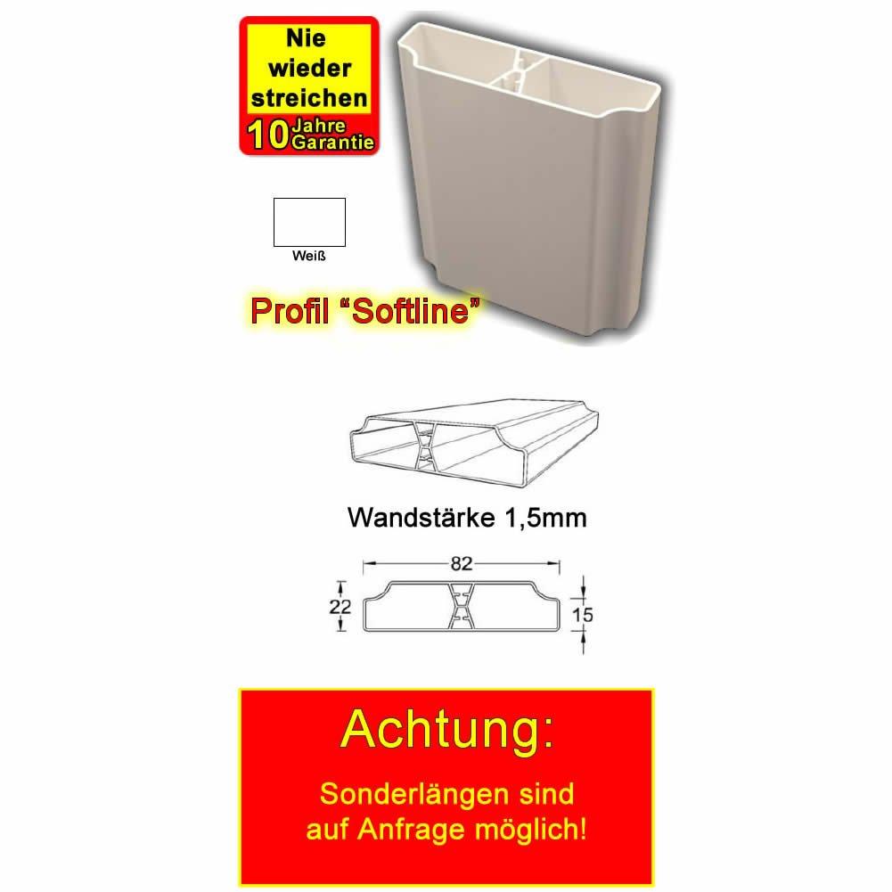 Kunststoff Lattenprofil Softline 0,98m in wei/ß BAUER
