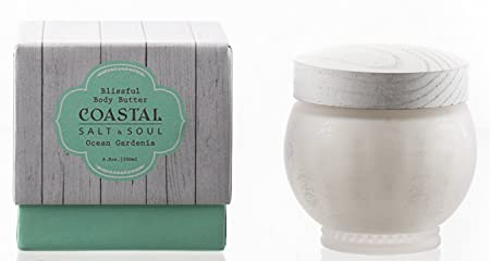 Coastal Salt Soul, Blissful Body Butter, Ultra-Moisturizing, with Essential Sea Oils Pure Shea Butter, 7.5 Oz., Ocean Gardenia