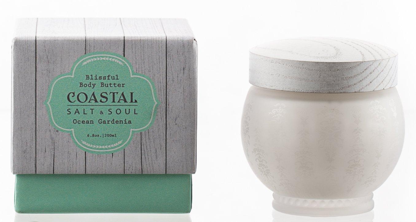 Coastal Salt & Soul, Blissful Body Butter, Ultra-Moisturizing, with Essential Sea Oils & Pure Shea Butter, 7.5 Oz., Ocean Gardenia