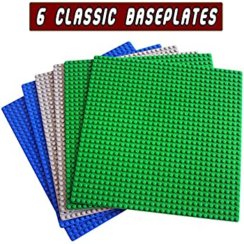 """Classic Building Base Plates -6 set of 10"""" x 10"""" Baseplate - Compatible with All Major Brands (2 green + 2 blue + 2 Gray)"""