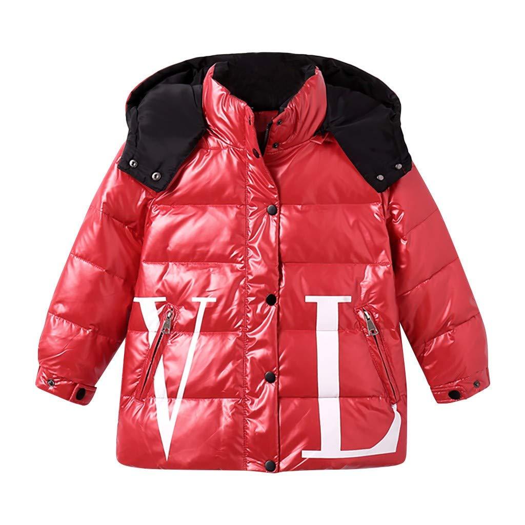 Toraway Winter Coat Kids Girl Boy Winter Hooded Letter Waterproof Coat Down Jacket Overcoat Outwear Jacket(3-12Years) Red by Toraway