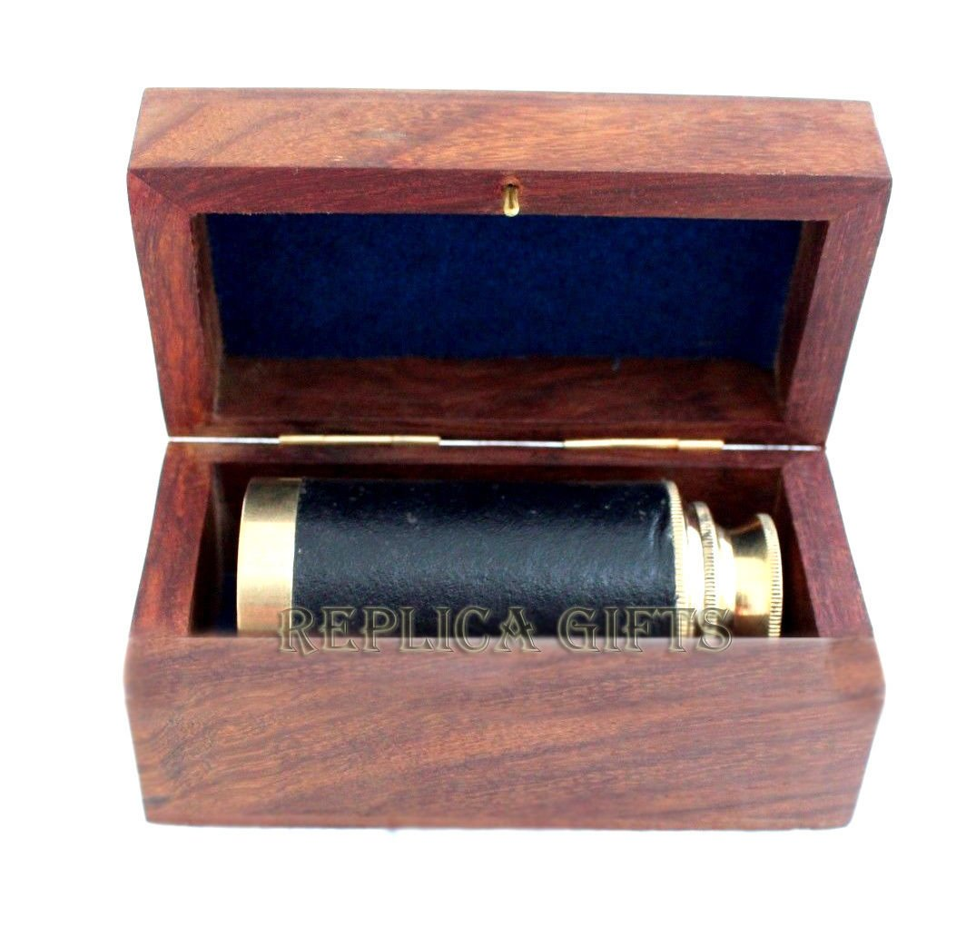 Arsh Nautical Nautical Vintage Maritime Brass 6'' Pirates Spyglass Telescope with Wooden Box D by Arsh Nautical (Image #2)