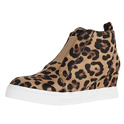LAICIGO Women's Wedge Sneakers Platform Perforated High Top Size Zipper Elastic Band Slip-on Ankle Booties | Fashion Sneakers