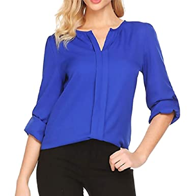 6af15327fbe ONTBYB Women's Front Pleated Chiffon Blouse Ladies Cuffed Sleeve Office  Tunic Tops at Amazon Women's Clothing store: