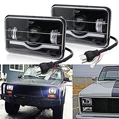 LED Rectangular Headlight Projector 4x6 CREE Sealed Beam Replacement Hi/Lo Beam DRL Fits Headlamp Bulb for Jeep Wrangler, T001N-1pcs, Colight