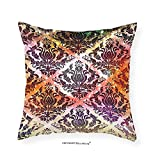 VROSELV Custom Cotton Linen Pillowcase Colorful Vintage Decor Watercolor Effect Oriental Arabian Damask Chandelier Pattern Traditional Art Prints Living Room Bedroom Dorm Multi 12''x12''