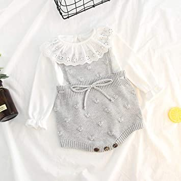 Amazon.com: Jshuang Baby Knitted Strap Romper Bubble Ball Triangle Bodysuit Overalls Crochet Clothes: Baby