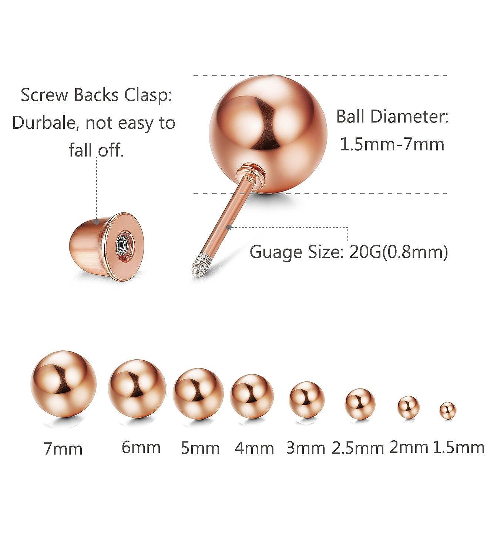 Subiceto 8 Pairs Stainless Steel Ball Earrings Studs Screw Backs Ear Cartilage Earrings for Women Men 1.5-7mm