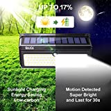 BAXIA TECHNOLOGY Outdoor Wireless 100 LED Solar Motion Sensor Waterproof Security Wall Lighting Outside for Front Door, Backyard, Steps, Garage, Garden (2000LM, 4PACK)
