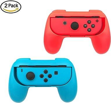 Grip para mando Joy-Con de Nintendo Switch de niceEshop™, soporte para Joy-Con resistente al desgaste, rojo y azul, pack de 2 unidades: Amazon.es: Electrónica