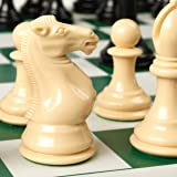 """Best Chess Set Ever Quadruple Weighted XL Tournament Style Chess Set with Exclusive Chess Strategy Guide — 20"""" x 20"""" Silicone"""