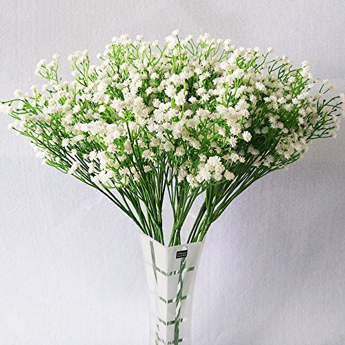 YSBER 10Pcs Baby Breath/Gypsophila Artificial Fake Silk Plants Wedding Party Decoration Real Touch Flowers DIY Home Garden(White) (Flowers White Silk Small)