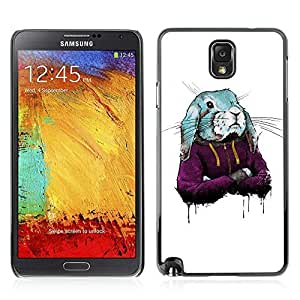 Colorful Printed Hard Protective Back Case Cover Shell Skin for Samsung Galaxy Note 3 III / N9000 / N9005 ( Cute Hoodie Bunny Rabbit )