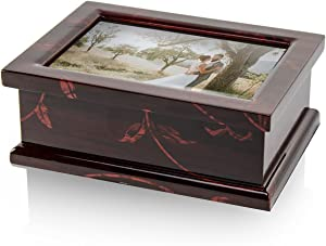 Modern 4 X 6 Photo Frame Musical Jewelry Box with Floral Motifs - Many Songs to Choose - Hark! The Herald Angels Sing
