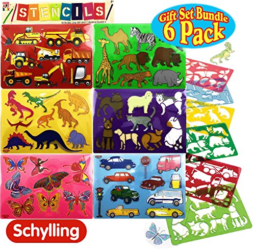 Schylling Art Box Stencils with Line Art & Coloring Guide Featuring Construction Vehicles, Vehicles, Zoo Animals, Butterflies, Dinosaurs & Cats and Dogs Complete Gift Set Bundle - 6 Pack