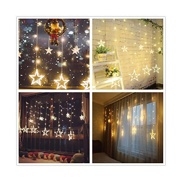 SALCAR luci colorate di Natale del LED 2 * 1 metro 12 stelle colorate illuminano tenda per le feste di Natale, Decorare, Party, 8 programmi scelta di colori (bianco caldo) 4 spesavip