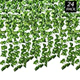 SMALUCK 24 Pack 168 Ft Artificial Ivy Garland Fake Ivy Vine Hanging Plant for Wedding Garland Fake Foliage Flowers Home Kitchen Garden Office Wedding Wall Decor