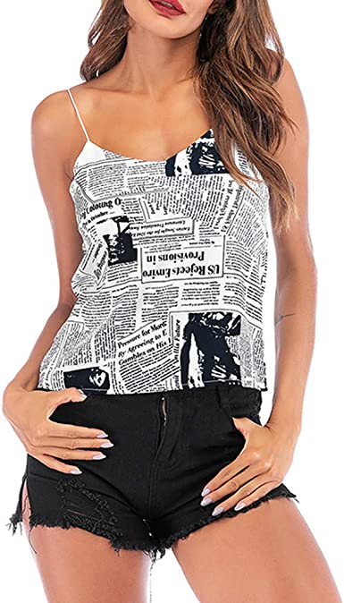 aihihe Newspaper Print Clothing Womens Teen Girls Tank Tops Camis Camisole  Sleeveless Summer Tees Blouse Tunic at Amazon Women's Clothing store