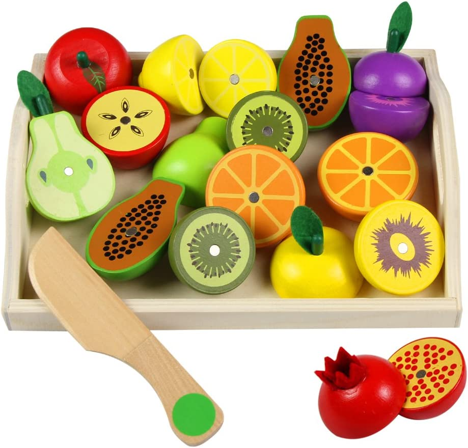 Mango Town Wooden Fruit and Vegetables Toys Pretend Play Food Toy Cut Vegetables Toy for Children Kids 3 4 5 6 7 Years Old