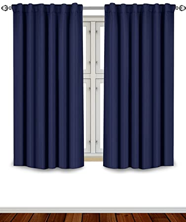 Blackout Room Darkening Curtains Window Panel Drapes   Navy 2 Panel Set 52  inch wide by. Amazon com  Blackout Room Darkening Curtains Window Panel Drapes